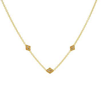 Necklace Triple Zirconia Diamond Goldplated