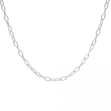 Necklace Oval Chains Silver 50-57CM