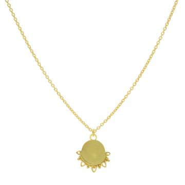 Necklace Solid Dotty Flower Goldplated