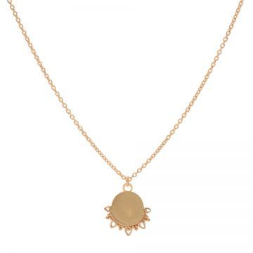 Necklace Solid Dotty Flower Roseplated