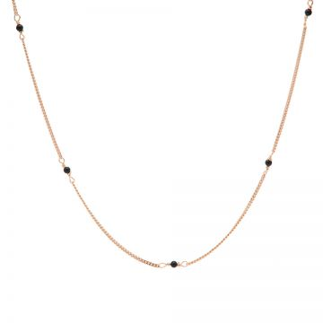 Necklace Tiny Onyx Roseplated
