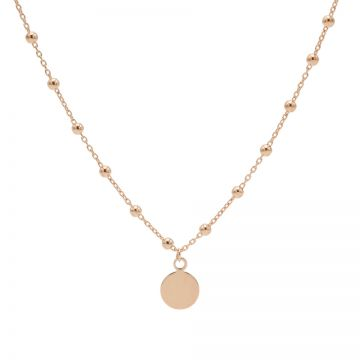Necklace Dots Disc Roseplated 50-57CM