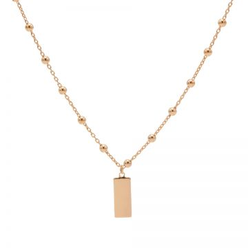 Necklace Dots Rectangle Roseplated 50-57CM