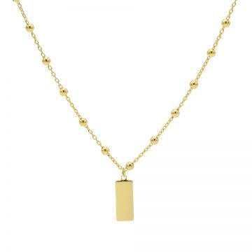 Necklace Dots Rectangle Goldplated