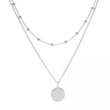 Double Necklace Dots Disc Silver