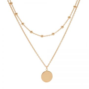 Double Necklace Dots Disc Roseplated