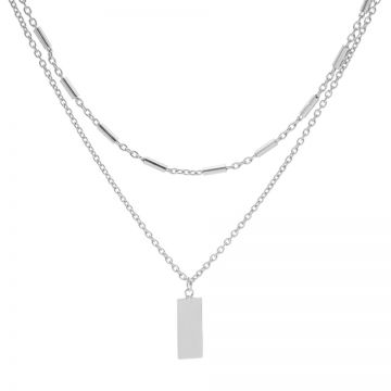 Double Necklace Tubes Rectangle Silver