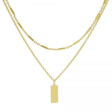 Double Necklace Tubes Rectangle Goldplated