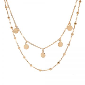 Double Necklace Dots 5 Discus Roseplated