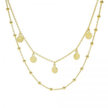 Double Necklace Dots 5 Discus Goldplated