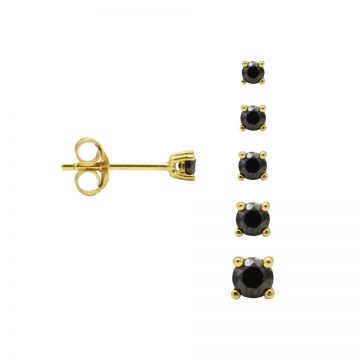 Round Black Zirconia Earstuds Goldplated 3-4-5-6-7MM