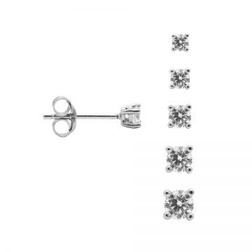 Round Zirconia Earstuds Silver 3-4-5-6-7-8-9-10MM